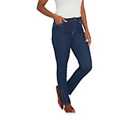 Susan Graver Stretch Denim Slim-Leg Pants w/ Faux Leather Lacing - A300547