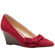 Sole Society Suede Leather Stacked Wedge Pumps- Theirien - A339447