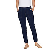 As Is Denim & Co. Petite Comfy Knit Denim Pull On Jogger Pants - A344447