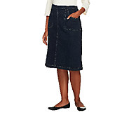 Denim & Co. Classic Waist Colored Denim A-line Skirt w/ Back Elastic - A97747