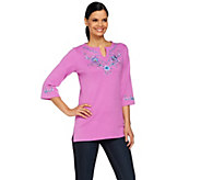 Quacker Factory Split Neck Denim Floral Knit Tunic - A212748