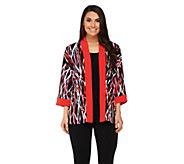 Bob Mackies Printed Kimono Top with Contrast Solid Trim - A233348
