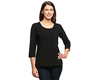 As Is Denim & Co. Essentials 3/4 Sleeve Round Neck T-shirt - A236848