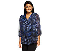 Liz Claiborne New York Cascading Ruffle Front Printed Tunic - A237748