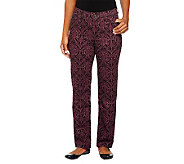 Denim & Co. How Modern Brocade Print Stretch Twill Pants - A238548