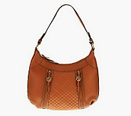 As Is Maxx New York Pebble Leather Hobo Bag with Croco Leather Trim - A239048