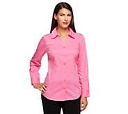 Denim & Co. Essentials Button Front Blouse w/ Shirt Tail Hem - A240648