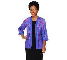 Bob Mackie's Enchanted Kimono 3/4 Sleeve Chiffon Jacket