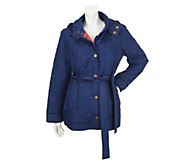Dennis Basso Reversible Water Resistant Jacket with Removable Hood - A252548