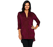 H by Halston Spirograph Print 3/4 Sleeve Woven Tunic - A253948