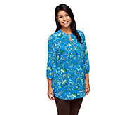 Liz Claiborne New York 3/4 Sleeve Floral Print Lined Tunic - A254848