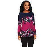 George Simonton Long Sleeve Floral Print Knit Top - A256948