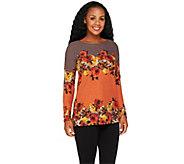 George Simonton Long Sleeve Floral Print Knit Top - A256948