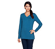 Denim & Co. Active Long Sleeve Knit Top with Cover Stitch - A257348