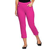 As Is Quacker Factory DreamJeannes Crop Pants with Rhinestone Zip - A259748