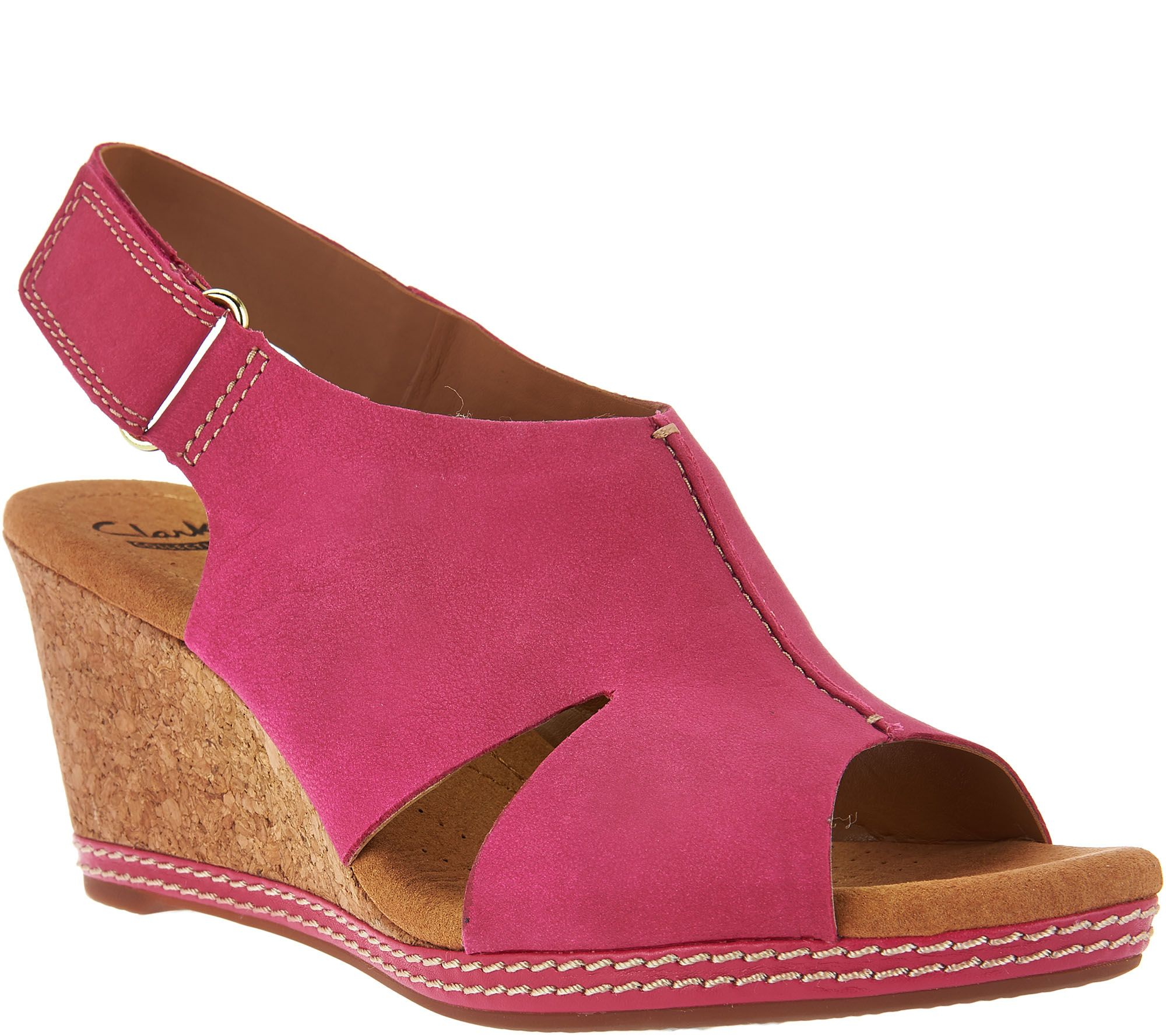 Clarks Nubuck Wedge Sandals with Backstrap - Helio Float - Page 1 — QVC.com