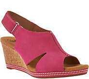 Clarks Nubuck Wedge Sandals with Backstrap - Helio Float - A260048