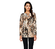 Susan Graver Printed Liquid Knit Top w/ Embellished Keyhole - A260348