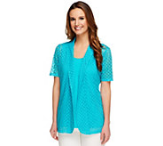 As Is Denim & Co. Knit Eyelet Short Sleeve Cardigan with Tank - A260448