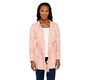 Liz Claiborne New York Marled Mixed Stitch Cardigan w/ Fringe - A261248