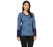 Denim & Co. Active Printed Long Sleeve Top w/ Solid Panels - A261848