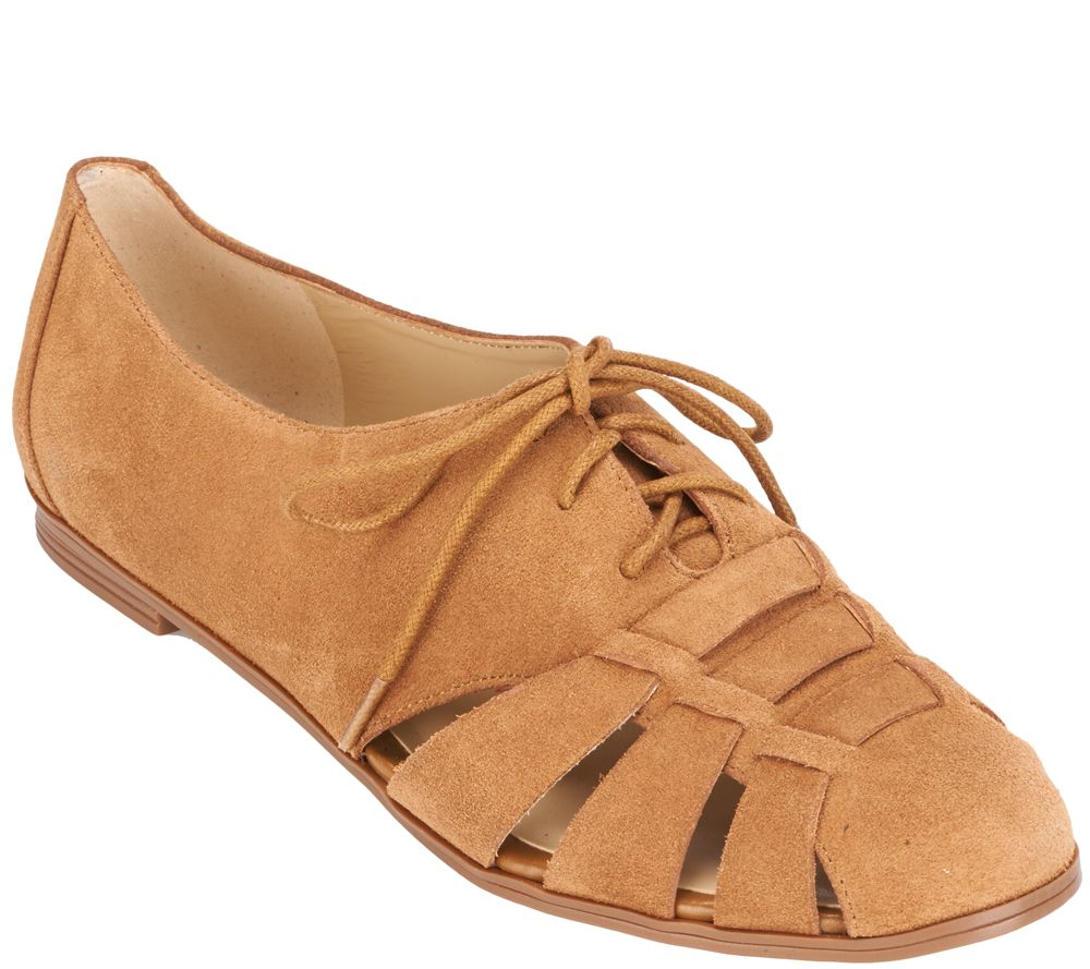 Isaac Mizrahi Live! Fisherman Lace-Up Suede Oxfords