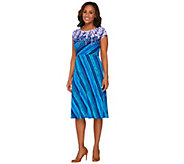 Bob Mackies Cap Sleeve Printed Jersey Knit Dress - A265048