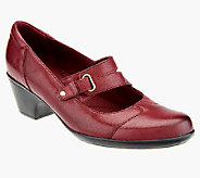 As Is Clarks Leather Slip-on Mary Janes- Ingalls Siene - A266648
