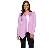 Joan Rivers Jersey Knit Drape Front Cardigan with Sequin Trim - A268148