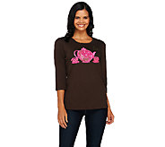 Quacker Factory Be Jeweled Novelty 3/4 Sleeve T-shirt - A268448