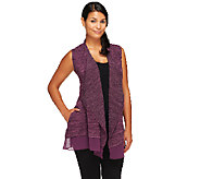 As Is LOGO by Lori Goldstein Open Front Vest with Chiffon Trim - A271248