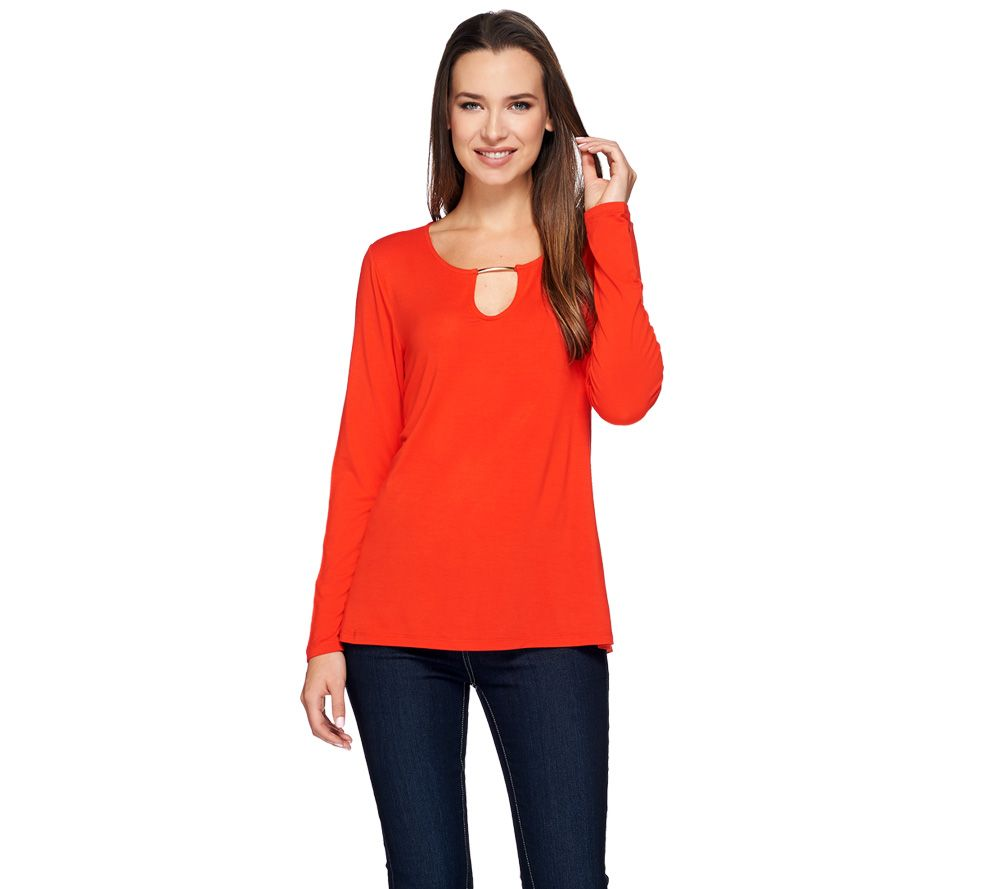 H by Halston Long Sleeve Keyhole Top with Metal Trim
