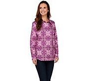 Susan Graver Printed Stretch Cotton Button Front Shirt - A272348