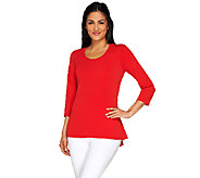 As Is Susan Graver Liquid Knit 3/4 Sleeve U-Neck Top - A273148