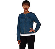 As Is Denim & Co. Round Neck Cropped Jean Jacket - A276248