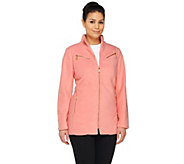 As Is Bob Mackies Fleece Jacket with Zipper Details - A277548