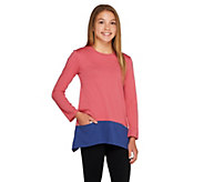 As Is LOGO Littles by Lori Goldstein Knit Top w/Contrast Hem and Pockets - A281048