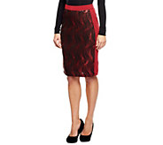 As Is Bob Mackies Elastic Waist Knee Length Sequin Skirt - A281848