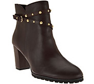 C. Wonder Leather Ankle Boots w/ Stud Detail - Ava - A284148