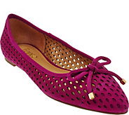 As Is Franco Sarto Suede Perforated Ballet Flats - Shari - A287548