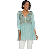 LOGO by Lori Goldstein Embroidered Tie Front Slub Cardigan - A288048