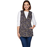 As Is Denim & Co. Camo Printed Button Front Vest with Pockets - A289048