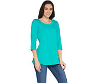 Denim & Co. Active 3/4-Sleeve Knit Tunic with Cutout Detail - A305048