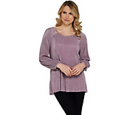 H by Halston Knit Plisse 3/4-Sleeve Scoop-Neck Top - A305348