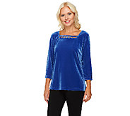 Quacker Factory Rhinestone Embellished Stretch Velvet Top - A93848