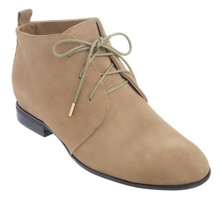 Isaac Mizrahi Live Suede Leather Flat Lace Up Ankle Boots —