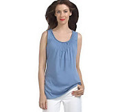 Isaac Mizrahi Live! Knit Tank Top with Smocking Detail - A215549