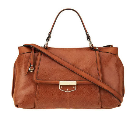 B. Makowsky Leather Zip Top Convertible Satchel