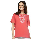 Denim & Co. 2-pc Gauze Embroidered Butterfly Sleeve Top - A231349