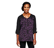 Lisa Rinna Collection Roll Tab Sleeve Printed Tunic with Pockets - A235549
